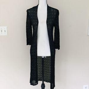 Eileen Fisher Black Long Knit Cardigan Duster